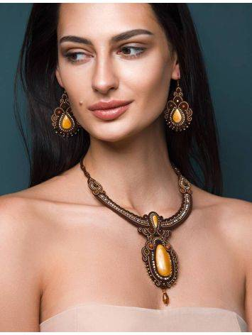 Braided Textile Necklace With Amber And Crystals The India, image , picture 3