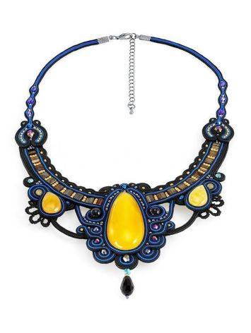 Blue Textile Braided Necklace With Honey Amber And Crystals The India, image , picture 3