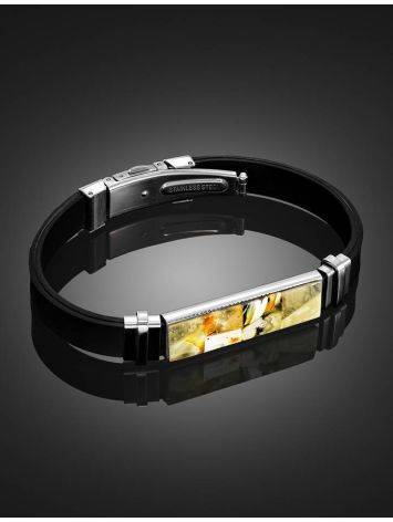 Rubber Mens Wristband With Amber Mosaic The Grunge, image , picture 2
