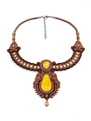 Ornate Braided Necklace With Amber And Glass Beads The india, image , picture 3