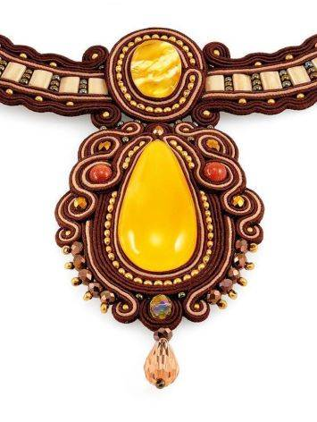 Ornate Braided Necklace With Amber And Glass Beads The india, image , picture 5