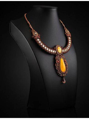 Ornate Braided Necklace With Amber And Glass Beads The india, image , picture 2