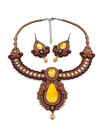Ornate Braided Necklace With Amber And Glass Beads The india, image , picture 6