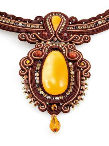 Braided Textile Necklace With Amber And Crystals The India, image , picture 5