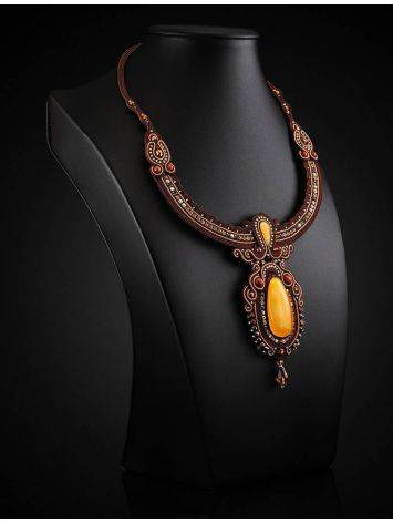 Braided Textile Necklace With Amber And Crystals The India, image , picture 2