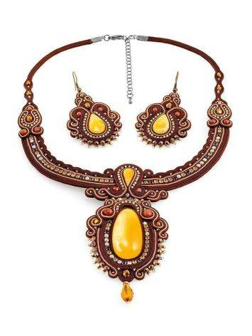 Braided Textile Necklace With Amber And Crystals The India, image , picture 6
