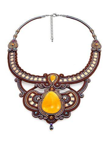 Textile Braided Necklace With Amber And Crystals The India, image , picture 3
