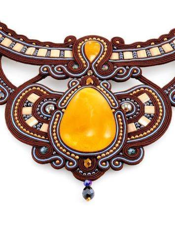 Textile Braided Necklace With Amber And Crystals The India, image , picture 4
