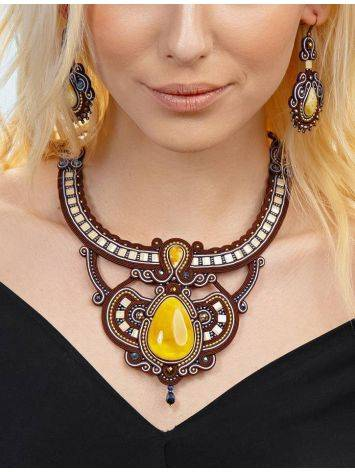 Textile Braided Necklace With Amber And Crystals The India, image , picture 5