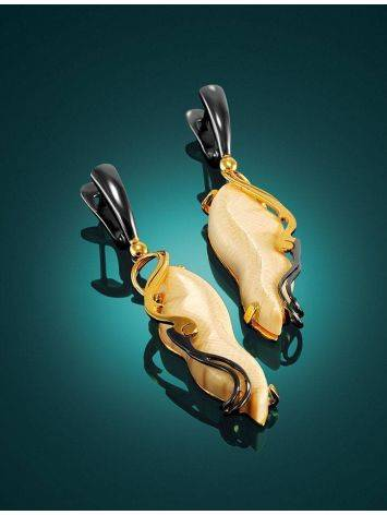 Elongated Mammoth Tusk Earrings In Gold-Plated Silver The Era, image , picture 2