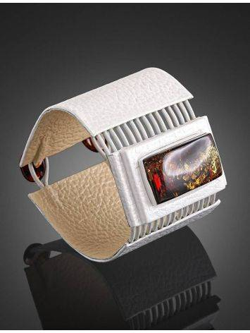 White Leather Bracelet With Square Cut Cognac Amber The Amazon, image , picture 2