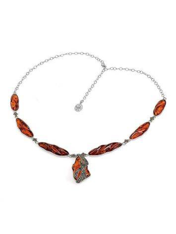 Cognac Amber Pendant Necklace In Sterling Silver With Marcasites The Colorado, image , picture 4