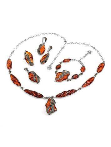 Cognac Amber Pendant Necklace In Sterling Silver With Marcasites The Colorado, image , picture 5
