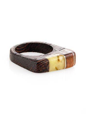 Handcrafted Wenge Wood Ring With Butterscotch Amber The Indonesia, Ring Size: 8 / 18, image , picture 3