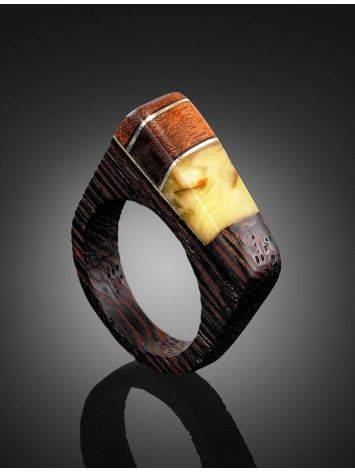 Handcrafted Wenge Wood Ring With Butterscotch Amber The Indonesia, Ring Size: 8 / 18, image , picture 2