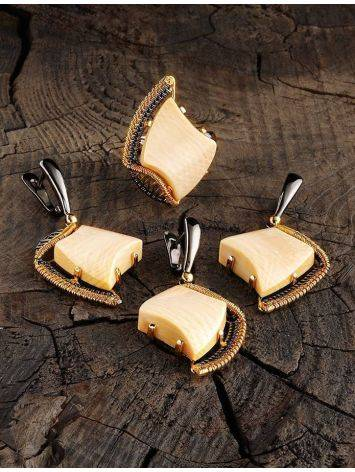 Gold-Plated Drop Earrings With Mammoth Tusk The Era, image , picture 4