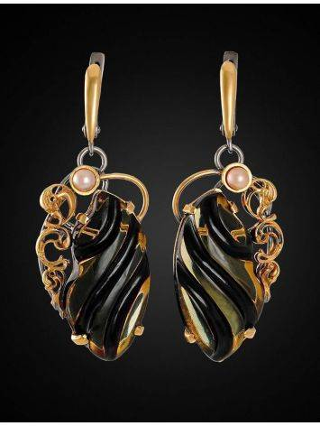 Amber Earrings In Gold-Plated Silver With Cultured Pearls The Electra, image , picture 2