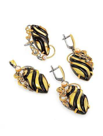 Amber Earrings In Gold-Plated Silver With Cultured Pearls The Electra, image , picture 4
