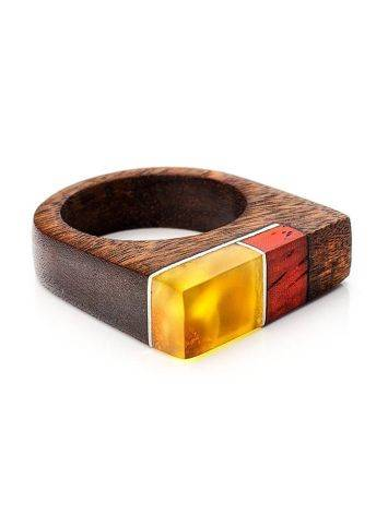 Multicolor Wooden Ring With Butterscotch Amber The Indonesia, Ring Size: 8.5 / 18.5, image , picture 3