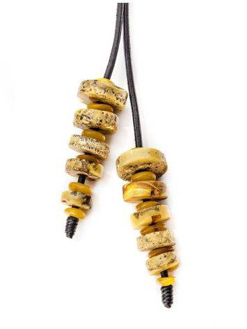 Honey Amber Necklace With Leather Cord The Indonesia, image , picture 4