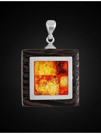 Wenge Wood Pendant With Honey Amber The Indonesia, image , picture 3