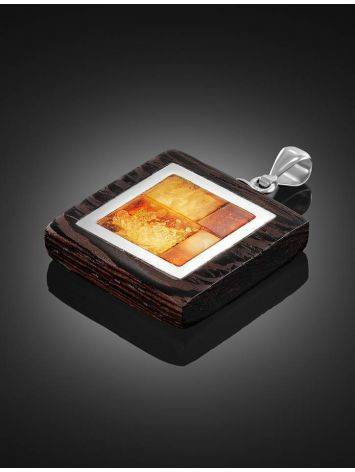 Wenge Wood Pendant With Honey Amber The Indonesia, image , picture 2