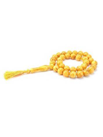 Vintage Style Honey Amber Islamic Prayer Beads With Tassel, image , picture 3