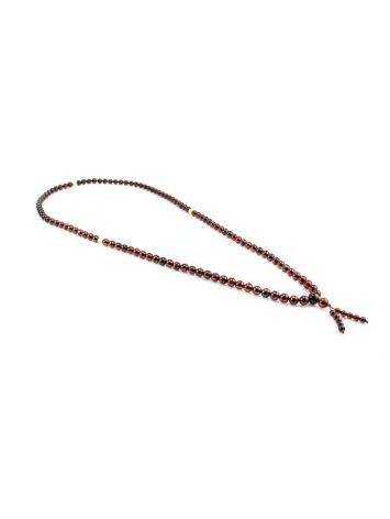 108 Dark Cherry Amber Mala Beads With Dangle, image , picture 4