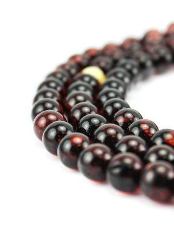 108 Dark Cherry Amber Mala Beads With Dangle, image , picture 2