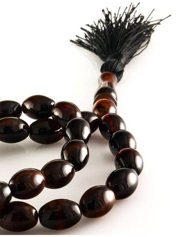 33 Black Amber Islamic Rosary With Tassel, image , picture 2