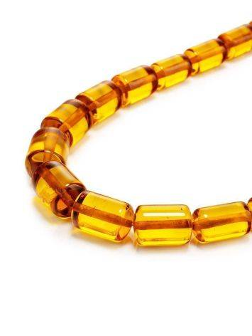 Cognac Amber Barrel Beaded Necklace, image , picture 3