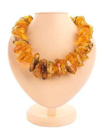 Bold Raw Amber Beaded Necklace, image