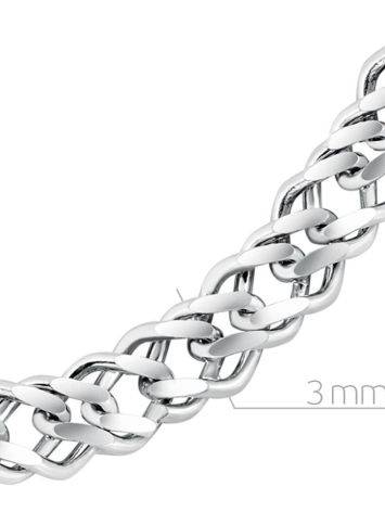 Double Rhomb Silver Chain, Length: 40, image , picture 2