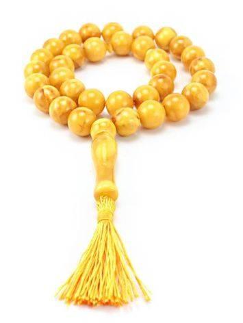 Vintage Style Honey Amber Islamic Prayer Beads With Tassel, image