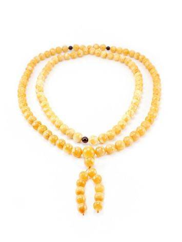 108 Honey Amber Mala Beads With Dangle, image