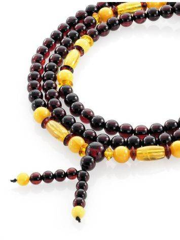 108 Multicolor Amber Mala Beads With Dangle, image