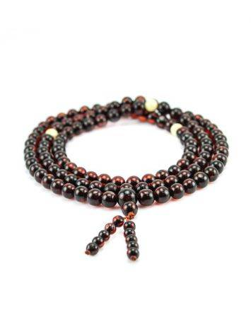 108 Cherry Amber Mala Beads With Dangle, image