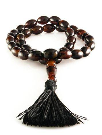 33 Black Amber Islamic Rosary With Tassel, image