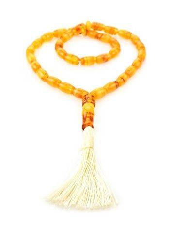33 Mosaic Amber Muslim Prayer Beads With Tassel, image