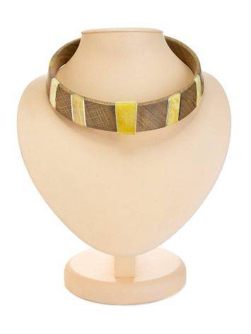 Wooden Choker With Honey Amber And Silver The Indonesia, image