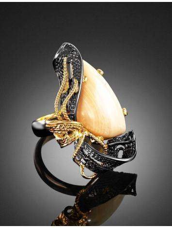 Voluptuous Gold-Plated Cocktail Ring With Mammoth Ivory The Era, Ring Size: Adjustable, image , picture 2