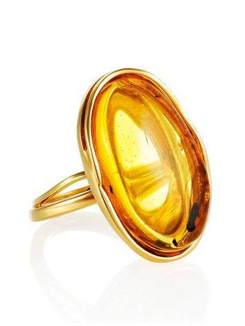 Amber Cocktail Ring With Insect Inclusions The Clio, Ring Size: Adjustable, image