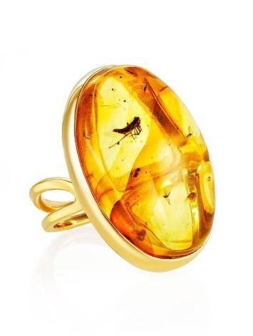 Bold Amber Gold Plated Ring With Inclusions The Clio, Ring Size: Adjustable, image