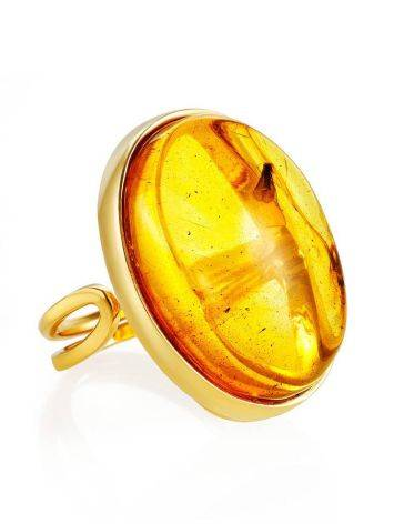 Amber Gold Plated Cocktail Ring With Insects The Clio, Ring Size: Adjustable, image