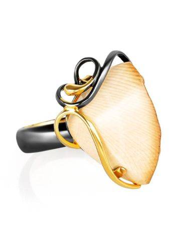 Refined Gold-Plated Open Ring With Genuine Mammoth Ivory The Era, Ring Size: Adjustable, image
