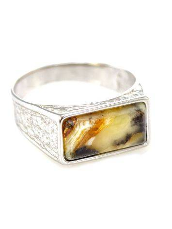 Stylish Silver Signet Ring With Amber The Cesar, Ring Size: 12 / 21.5, image