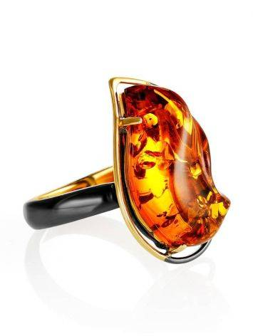 Open Amber Ring In Gold-Plated Silver The Rialto, Ring Size: Adjustable, image
