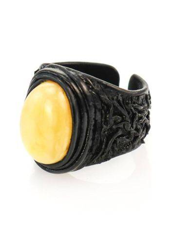 Bold Leather Amber Adjustable Ring The Nefertiti, Ring Size: Adjustable, image , picture 3