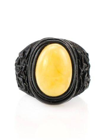 Bold Leather Amber Adjustable Ring The Nefertiti, Ring Size: Adjustable, image , picture 2