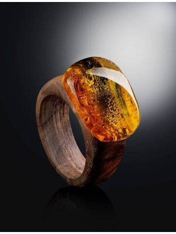 Wooden Ring With Bright Lemon Amber The Indonesia, Ring Size: 6 / 16.5, image , picture 2